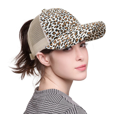 Small Leopard Print Ponytail Baseball Cap for Women and her Messy Bun, Snapback