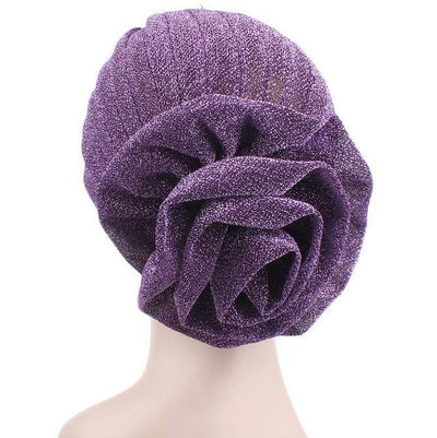 Sparkly Chemo Turban w-Oversized Flower Deco, Vintage Pleated Turban, Retro Turbans for Women, Alopecia Cap, Hair Loss