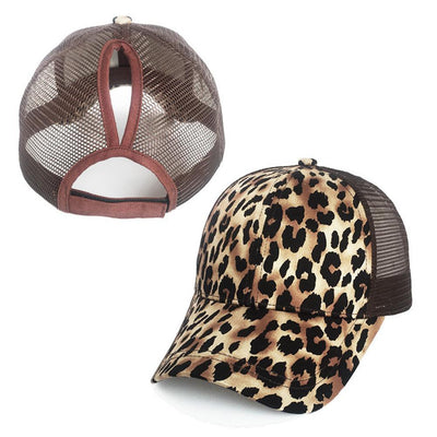 Large Leopard Print Ponytail Baseball Cap w-Snapback for Women