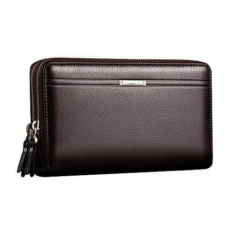Fashion Men Clutch Bag Long Purse Leather Wallet Lichee Handbag Double Zippers Brown