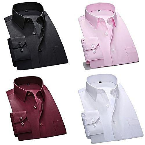 Fashion 4 In 1 Shirts For Men - Black, Wine, White And Pink