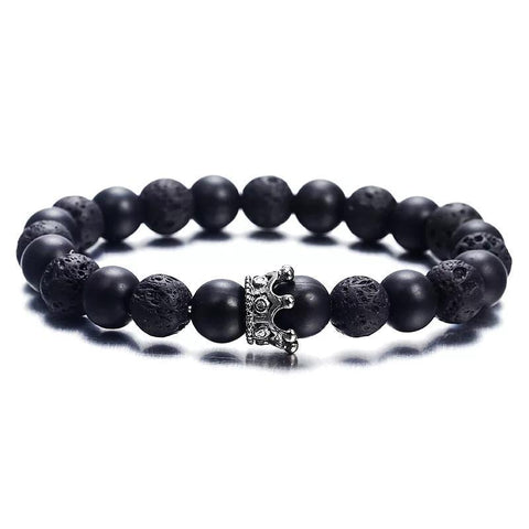 Hot Trendy Lava Stone Imperial Crown and Helmet Charm Bracelet
