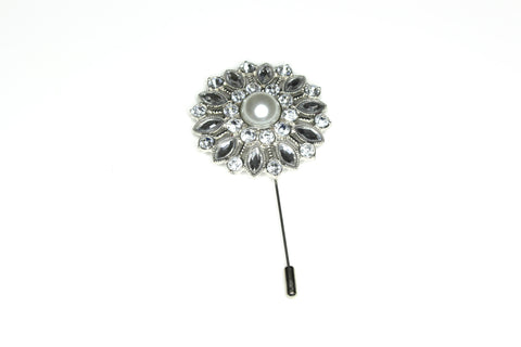 Diamond Pearl Lapel Pin