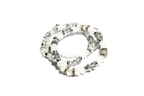 White Diamond Stacked Beaded Bracelet