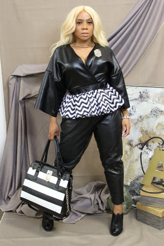 Faux Leather Black Peplum Blouse