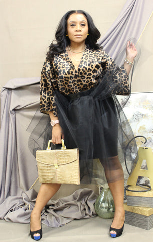 Leopard Wrap Tulle Dress