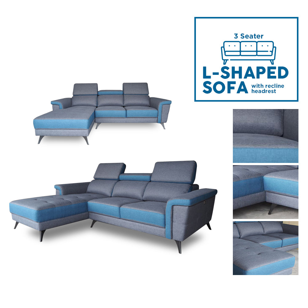 3 Seater Filly L-Shaped Sofa w/ reclinable headrest
