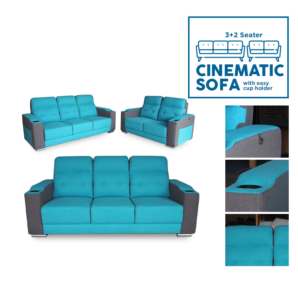3+2 Seater Cinema Sofa w/ easy sides cup holder