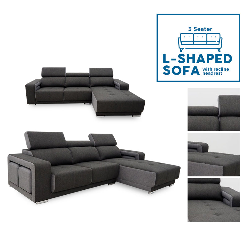 3 Seater Bossville L-Shaped Sofa w/ reclinable headrest