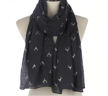 Load image into Gallery viewer, Silver Stags Chiffon Scarf-Furbaby Friends Gifts