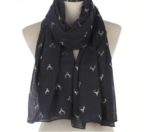 Silver Stags Chiffon Scarf-Furbaby Friends Gifts