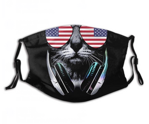 Cool Cat, Fully Adjustable Face Mask with 2 Free Carbon Pocket Filters-Furbaby Friends Gifts