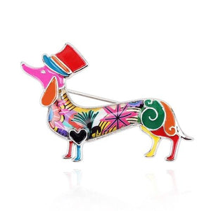 Bespoke, Hand-Painted Enamel Doxie Brooches-Furbaby Friends Gifts
