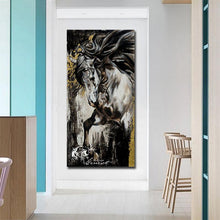 Load image into Gallery viewer, Black and White Stallion Oil Print-Furbaby Friends Gifts