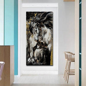 Black and White Stallion Oil Print-Furbaby Friends Gifts