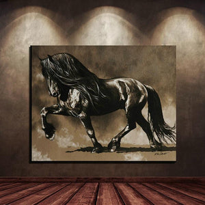 Black Stallion Canvas Oil Print-Furbaby Friends Gifts