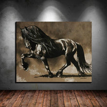 Load image into Gallery viewer, Black Stallion Canvas Oil Print-Furbaby Friends Gifts