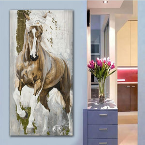 Chestnut Stallion Canvas Oil Print-Furbaby Friends Gifts