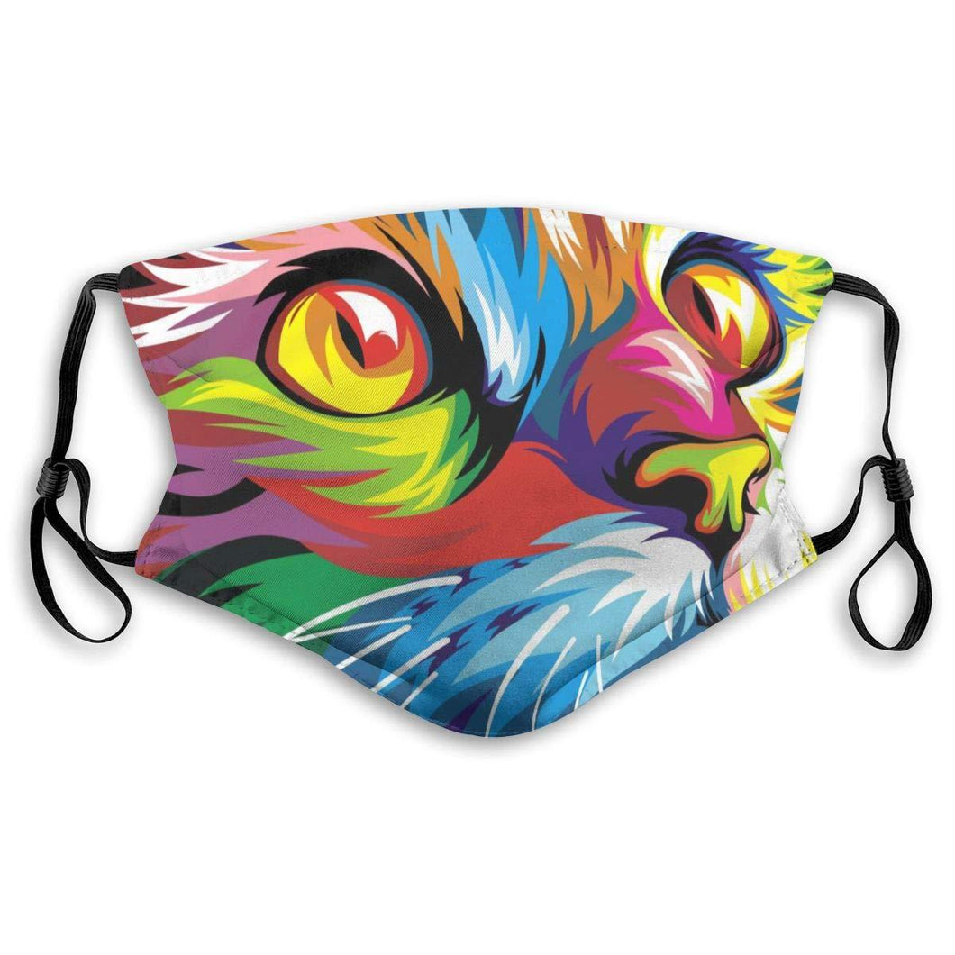 Colourful Cat Face Mask, with 2 Carbon Pocket Filters-Furbaby Friends Gifts