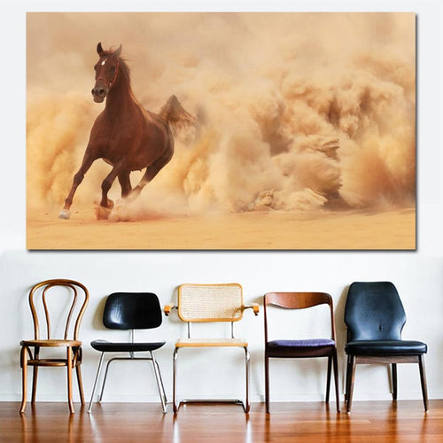 Desert Horses Canvas Oil Print-Furbaby Friends Gifts