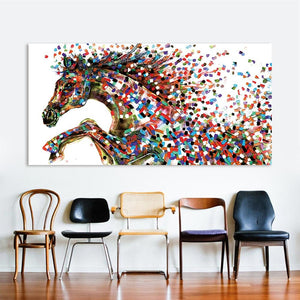 'Jumping Horse' Canvas Oil Print-Furbaby Friends Gifts
