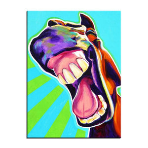 Laughing Horse Canvas Oil Print-Furbaby Friends Gifts