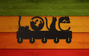 'Love Cats' Wooden Coat Rack-Furbaby Friends Gifts
