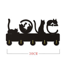 Load image into Gallery viewer, 'Love Cats' Wooden Coat Rack-Furbaby Friends Gifts