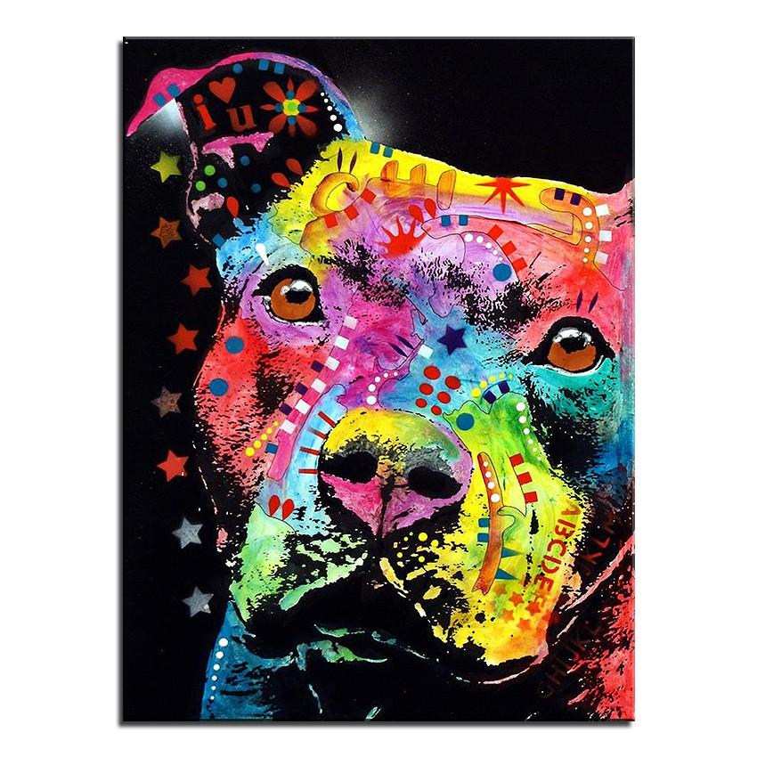 Pitbull Canvas Oil Print-Furbaby Friends Gifts
