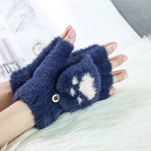 Fluffy Paw Print Mittens-Furbaby Friends Gifts