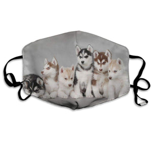 Husky Puppies, Adjustable Mask with 2 Free Carbon Pocket Filters-Furbaby Friends Gifts