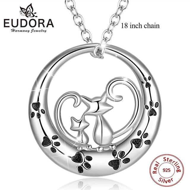 Silver Cat & Kitten Pendant Necklace-Furbaby Friends Gifts
