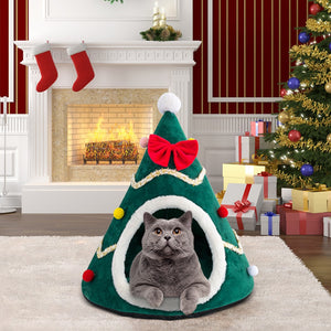 Adorable Christmas Tree Velvet Pet Bed-Furbaby Friends Gifts
