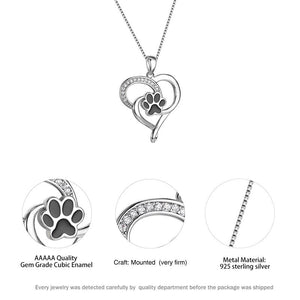 Silver Love Paws Pendant Necklace-Furbaby Friends Gifts