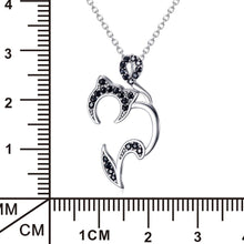 Load image into Gallery viewer, Sterling Silver & Crystal Black Cat Pendant and Chain-Furbaby Friends Gifts