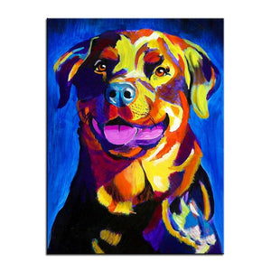 Rottweiler Canvas Oil Print-Furbaby Friends Gifts