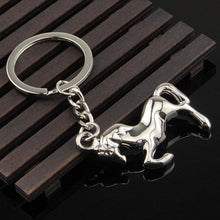 Load image into Gallery viewer, Silver Plated 'Rearing Horse' Keychain-Furbaby Friends Gifts