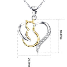 Load image into Gallery viewer, Sterling Silver Crystal Kitty Pendant & Chain-Furbaby Friends Gifts