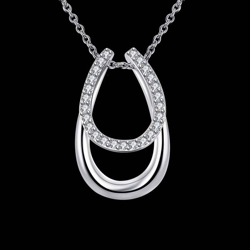 Sterling Silver Horse-Shoe Pendant Necklace-Furbaby Friends Gifts