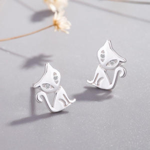 Sterling Silver Kitty Earrings-Furbaby Friends Gifts