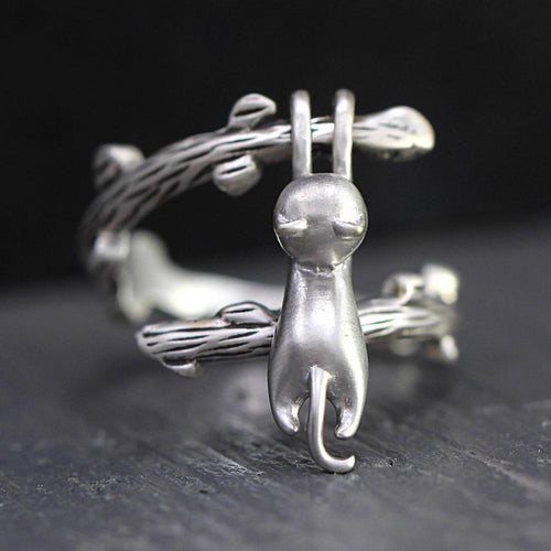 Sterling Silver 'Playing Cat' Ring-Furbaby Friends Gifts