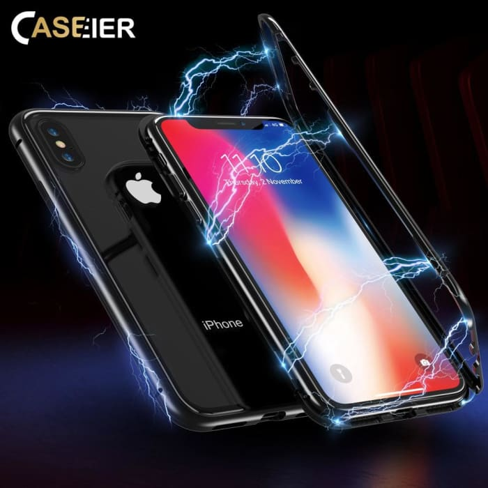 Magnetic Phone Case For iPhone X 7 8 9H Tempered Glass Cover - Phone Case Evolution