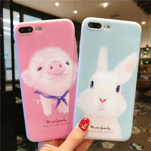 Rabbit Pig Soft TPU Back Cover Case For iPhone X 6 7 8 - Phone Case Evolution