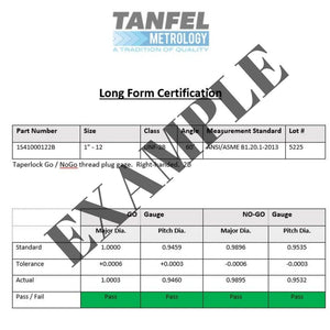 Long Form Certificate of Accuracy | Tanfel Metrology