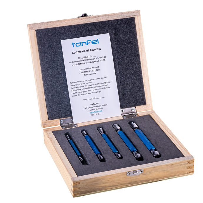 5 piece taperlock go NoGo thread plug gauge - gage set | Tanfel Metrology
