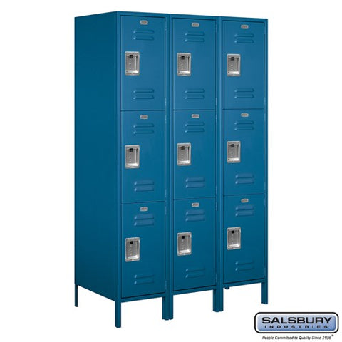 "Salsbury 18"" Wide Triple Tier Standard 6 ft x 21"" Deep Metal Locker 18-53361 - USA Safe And Vault"