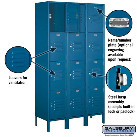 "Salsbury 15"" Wide Four Tier Standard 6 ft High x 15"" Deep Metal Locker 54365 - USA Safe And Vault"