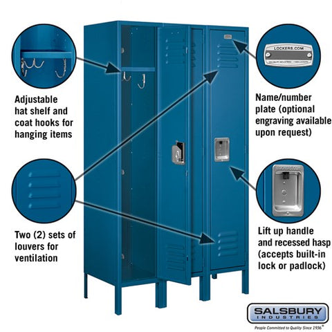 "Salsbury 12"" Wide Single Tier Standard 5 ft High x 15"" Deep Metal Locker 61355 - USA Safe And Vault"