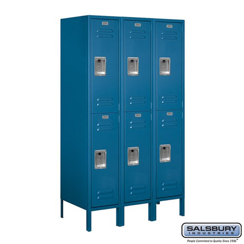 "Salsbury 12"" Wide Double Tier Standard 5 ft High x 18"" Deep Metal Locker 62358 - USA Safe And Vault"