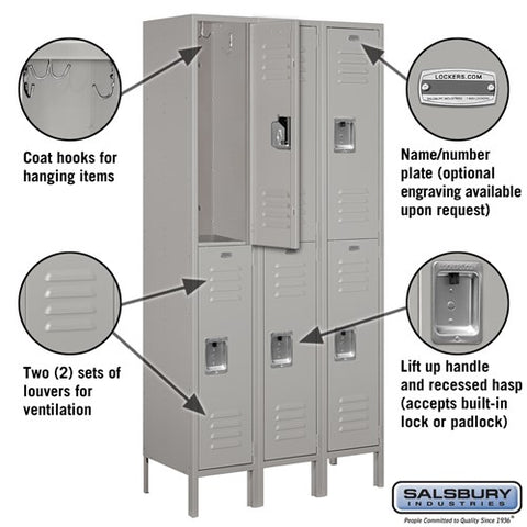 "Salsbury 12"" Wide Double Tier Standard 6 ft High x 15"" Deep Metal Locker 62365 - USA Safe And Vault"
